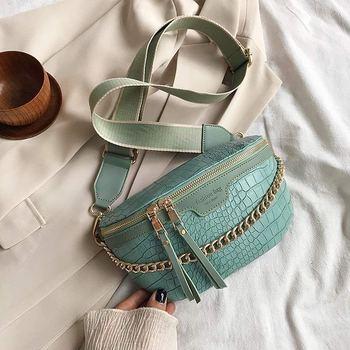 Retro Waist Bag PU Leather Fanny Pack Shoulder Bag Ladies Alligator Pattern Waist Pack Women Belt Bag Multifunctional Chest Bag 8