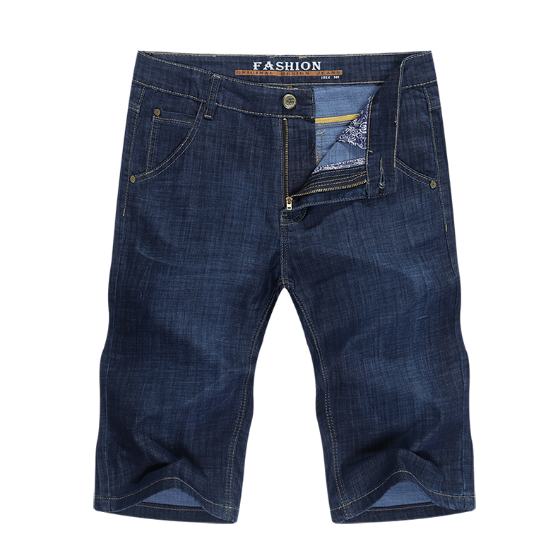 KSTUN Jeans Men Shorts Dark Blue Ultrathin Stretch Business Casual Straight Regular Fit Male Denim Short Pants Mens Shorts Homme 11