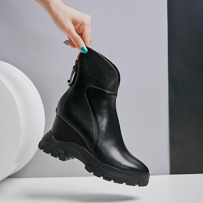 WETKISS Kuh Leder Stiefeletten Frauen Keile Booties Plattform Schuhe Weibliche Runde Kappe Keile Zip Schuhe Damen Winter 2020 Neue - 4