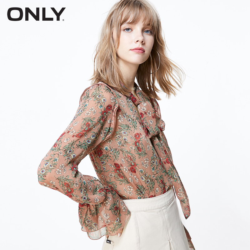 ONLY Women's Laced Splice Long-sleeved Chiffon Shirt  119351542