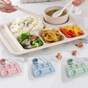 2020 Новое обеденное блюдо с изображением пшеничного колоса, соломенная тарелка для фаст-фуда, разделенная сетка, Студенческая столовая таре...