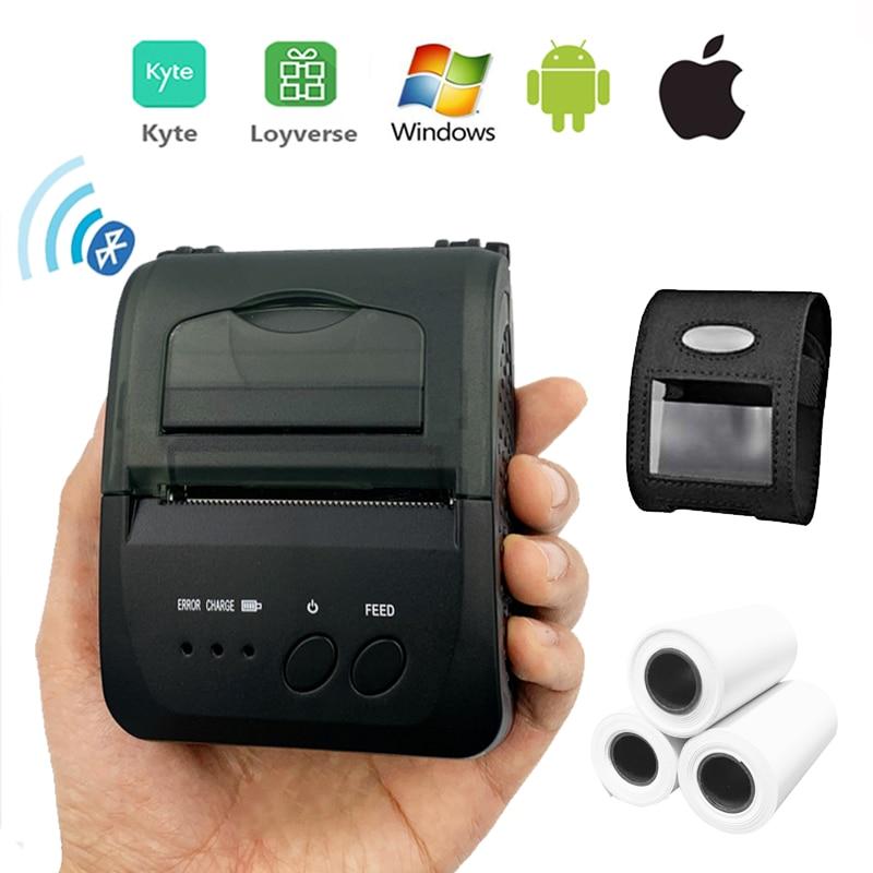 Mini przenośna termiczna drukarka paragonów pos bezprzewodowa bluetooth loteria bill drukarka biletów 58mm z baterią do sklepu mobilnego
