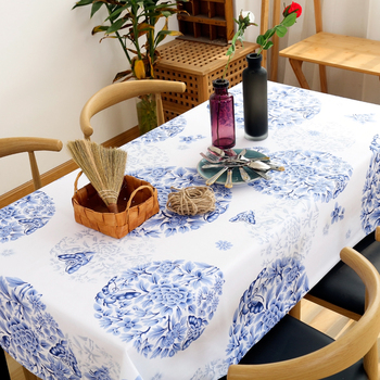 Chinese blue-and-white porcelain tablecloth classical cotton linen white background round table cloth cabinet coffee table