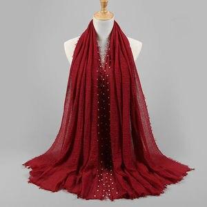 Image 3 - Bufanda lisa de hiyab para mujer, pañuelo de algodón de burbujas con cuentas, bandana con flecos, pañuelos musulmanes/bufanda de gran tamaño, 180x95cm
