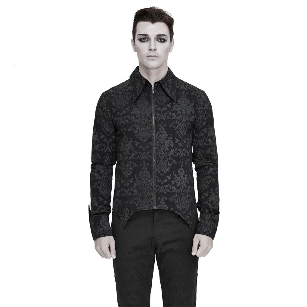 Devil Fashion New Men's Gothic Shirts High Quality Fashion Vintage Daily Long Sleeve Blouses Shirt
