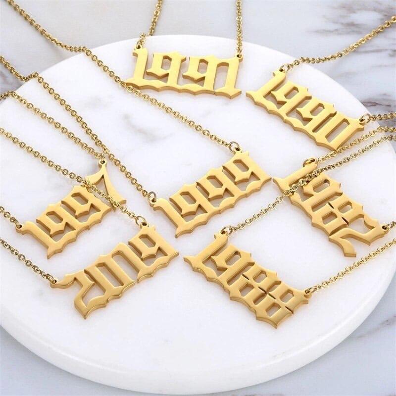 1985-2019 год рождения ожерелье готическое ожерелье дата на заказ ювелирные изделия с цифрами нержавеющая сталь 1999 2000 2001 2002 2003 Bijoux Femme