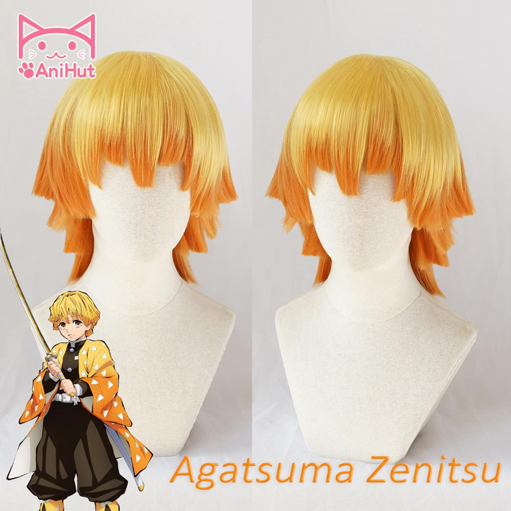 AniHut Agatsuma Zenitsu Wig Kimetsu No Yaiba Cosplay 25cm Yellow Synthetic Heat Resistant Hair Agatsuma Zenitsu Cosplay