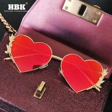 Yeni moda kalp güneş gözlüğü Metal kadınlar lüks benzersiz marka tasarımcısı kırmızı aşk ayna lensler güneş gözlüğü tonları noel UV400