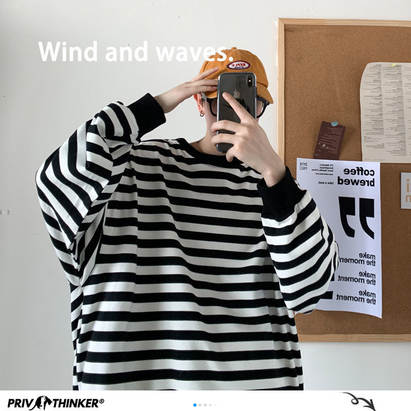 Privathinker Striped Men Hoodies 2020 Autumn New Fashion Harajuku Men's Sweatshirts 4 Colors Man Korean Style Casual Pullovers