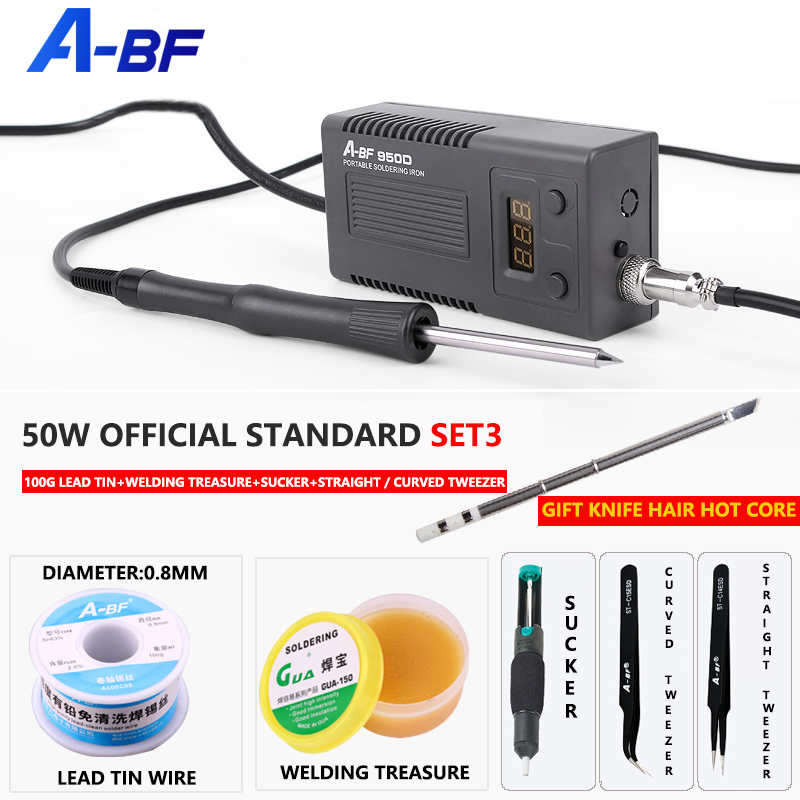 A-BF 950d micro estação de solda 50w mini reparação inteligente estação retrabalho ferro elétrico rápido aquecer kits ferramentas ferro solda