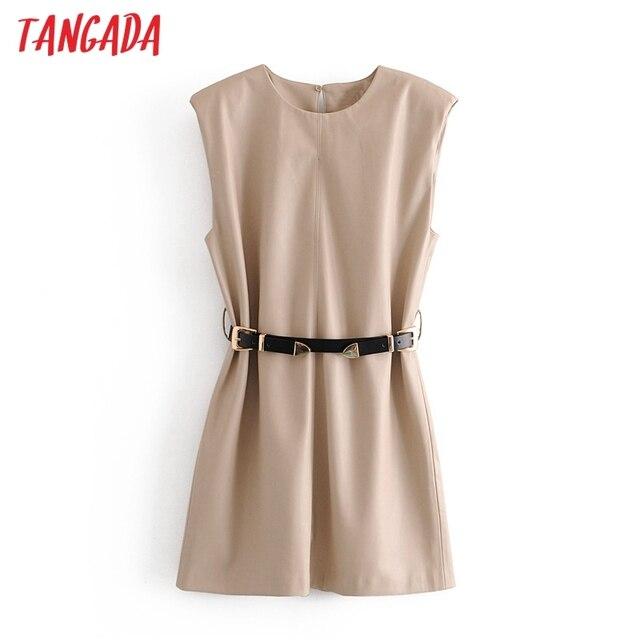 Tangada 2020 Autumn fashion women pu leather dress sleeveless office ladies mini dress with slash QN54 1