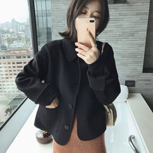 Woman short Solid Woolen Coat Fashion Autumn Jacket(China)