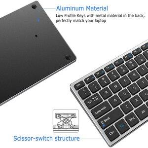Image 2 - Jelly Comb Bluetooth клавиатура для iPad, планшета, ноутбука, совместима с IOS, Windows, металлическая перезаряжаемая клавиатура AZERT, Франция/Россия
