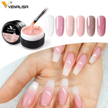 Thick Builder Gel Nails Pink VENALISA New 15ml Finger Nail Extension UV LED Gel Nail Cover Pink Camouflage Soak Off Jelly Gel 1