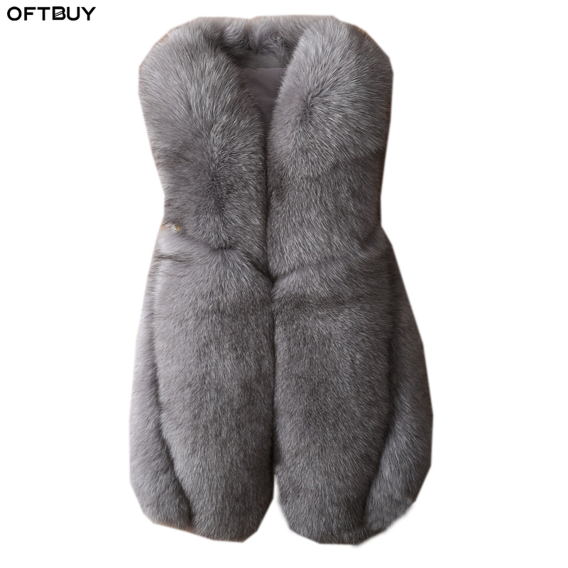 OFTBUY 100% Real Fox Fur Vest Slim Women Sleeveless Winter Jacket V-neck Natural Fur Coat Thick Warm Streetwear Outwear 2019 New