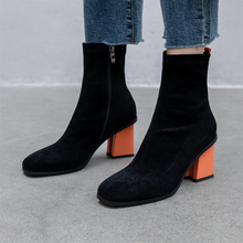 Plus Size 34-43 Slim Stretch Ankle Boots for Women Square Toe Sock Boots Square High Heel Boot Shoes Woman Fashion Bota Feminina luxury design knitted peep toe boots summer sock ankle women elastic stretch botas high heels pumps ladies dress bota feminina