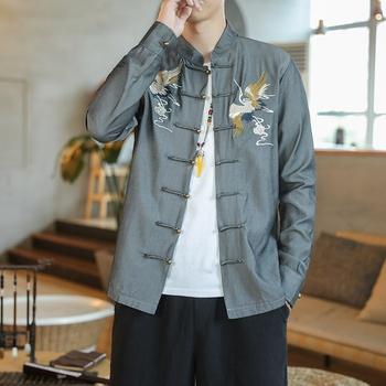 Mężczyzna tradycyjna chińska odzież wiosna jesień haft strój Tang mężczyźni Kung Fu Tai Chi mistrz kostium męska bluzka kurtki KK3362 tanie i dobre opinie EASTQUEEN Poliester CN (pochodzenie) Topy Suknem