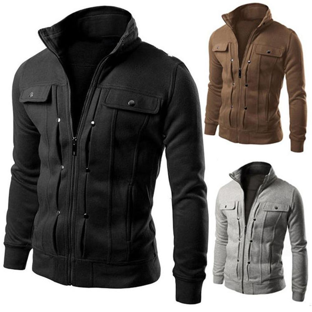 Plus Size Men Solid Color Stand Collar Long Sleeve Zip Pocket Slim Jacket Coat Long Sleeve Streetwear Winter Jacket Warm Mal