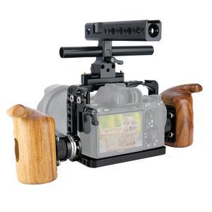 Image 5 - Niceyrigلسوني A7RIII/A7MIII/A7RII/A7SII/A7III/A7II هيكل قفصي الشكل للكاميرا عدة مع مقبض خشبي قبضة HDMI مشبك كابلات أري جبل