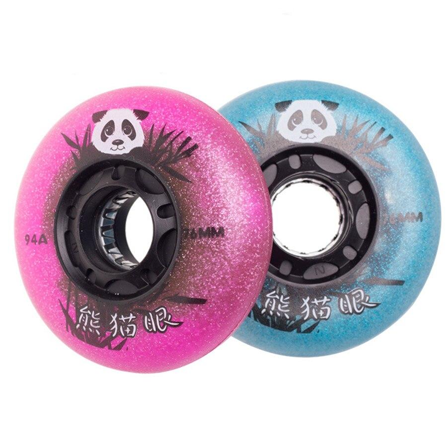 94A 8pcs Panda LED Lighting Inline Skates Wheels Flashing Roller Skating Tires Slalom Sliding Wheels For SEBA Powerslide Patines
