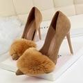 Туфли-лодочки женские с острым носком, флоковые туфли на высоком каблуке, свадебная обувь, тонкие пикантные вечерние туфли, 6 цветов