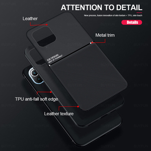 Image 5 - leather texture car magnetic holder phone case cover for xiaomi mi 11 lite 11lite mi11 light 5g silicone bumper shockproof coque