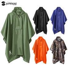 SaphiRose 3 in 1 Mit Kapuze Regen Poncho Wasserdichte Regenmantel Jacke für Männer Frauen Erwachsene Outdoor Zelt Matte