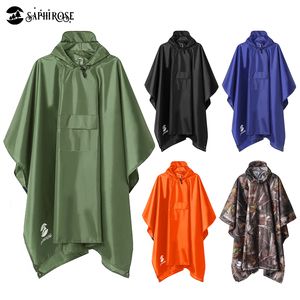 SaphiRose 3 in 1 Hooded Rain Poncho Waterproof Raincoat Jacket for Men Women Adults Outdoor Tent Mat