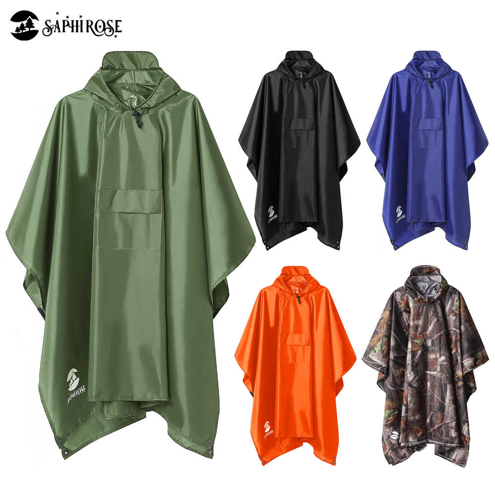 Multi-functional Rain Poncho Water Wind Proof Rain Cape Reusable Raincoat Rainwear Packable Sunshade Tarp with Hood and Storage Bag for Adults Outdoor Military Travel Cycling Campe Fishing Hiking