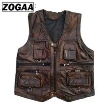 ZOGAA Vest Heren Lederen Vest Echte Leer Motorfiets Vest Met Veel Zakken Fotografie Vest Mouwloze Jas