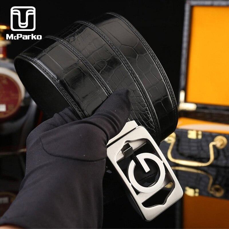 McParko véritable Crocodile cuir ceinture hommes boucle automatique avec lettre marque de luxe concepteur noir marron ceintures hommes costumes ceinture