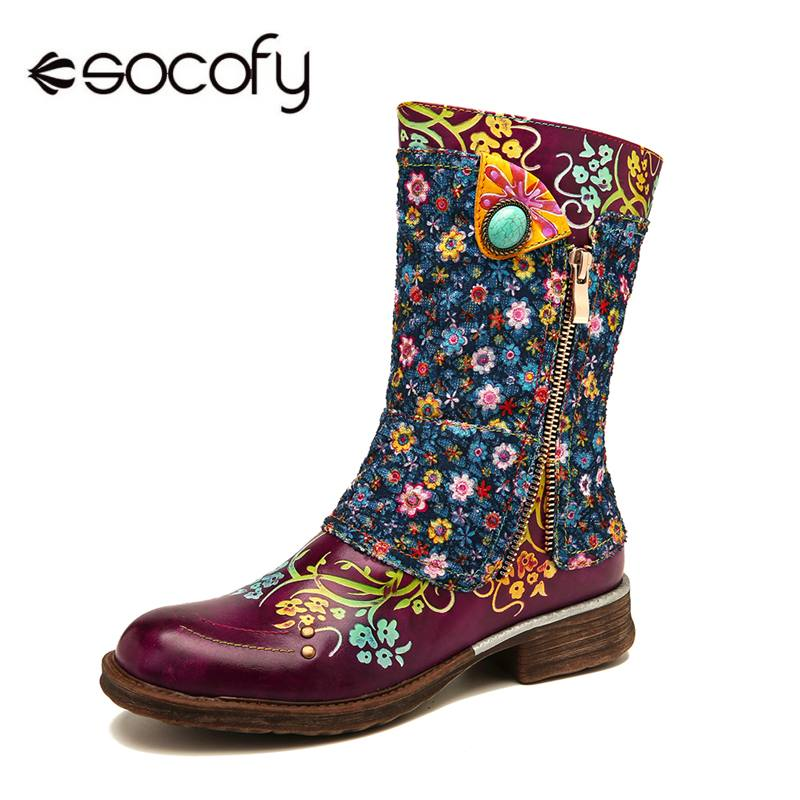 SOCOFY Retro Genuine Boots Boots Zapatillas Leather Small Flowers Pattern Stitching Zipper Flat Boots Ladies Shoes Women 2019