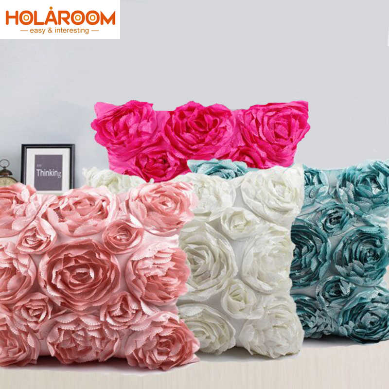 European Style 3d Roses Embroidered Cushion Cover Pillowcase Wedding Home Decorative Sofa Pillows Cojines Decorativos Para Sof Cushion Cover Cushion Covers Luxurycushion Cover Rose Aliexpress