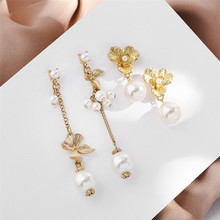 Simple small fresh asymmetric earring melting alloy earring pearl earring 925 stitches exaggerated