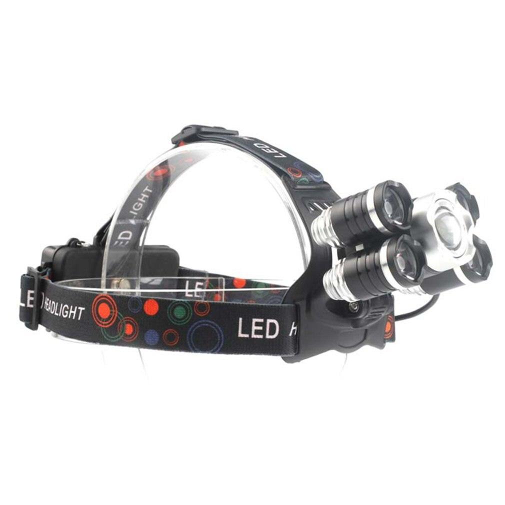2018 New Arrival 5 LEDs 30W Zoomable Long Shot Headlamp Rechargeable Headlight Head Torch Waterproof Adjustable Headband