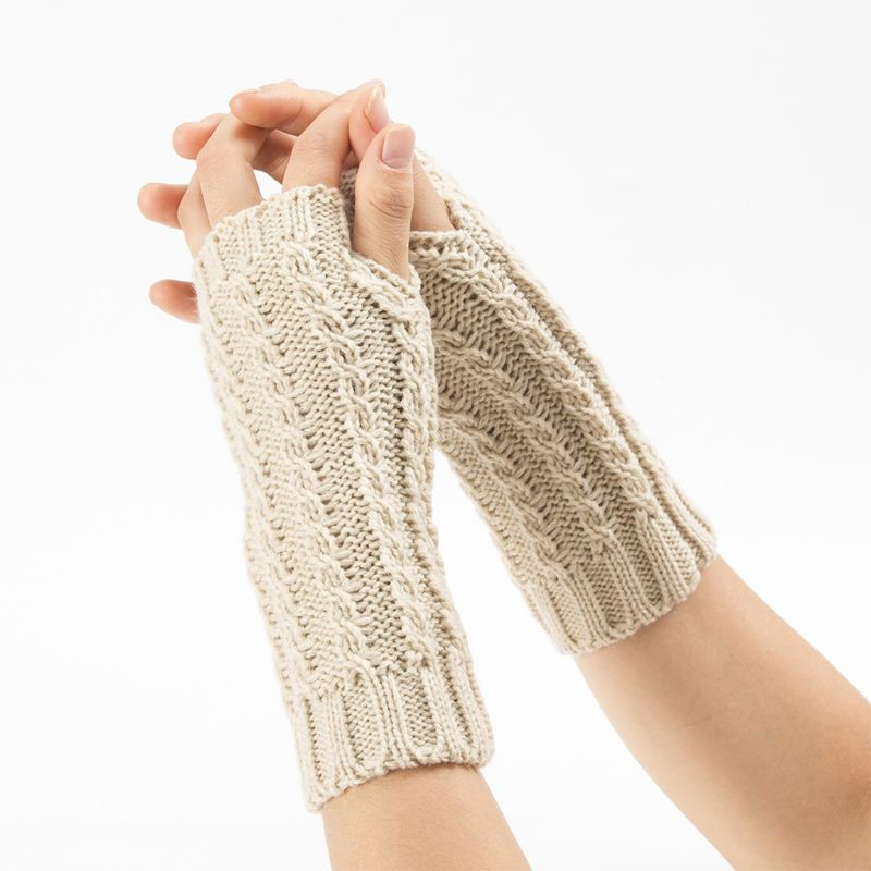 Womens Mens Winter Chunky Braided Cable Knit Arm Warmers Solid Color Thumb Hole Fingerless Gloves Snow Skiing Outdoor Mittens
