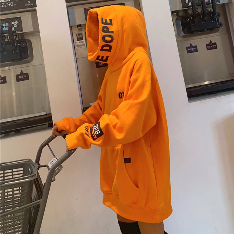 Hip Hop Hoodie Women Orange Hoodie Sweatshirt Oversized Solid Female Ulzzang Japanese Hoodies Autumn Loose Hoodie Streetwear