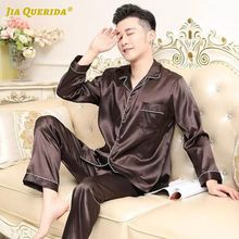 Pajamas-Set Clothes-Pj-Set Long-Pants Satin Silk Man for Solid Front-Pocket Collar Turn-Down