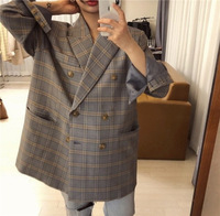 South Korea Blue Contrast Color Plaid Double Breasted Loose Large Version of Casual Suit Jacket
