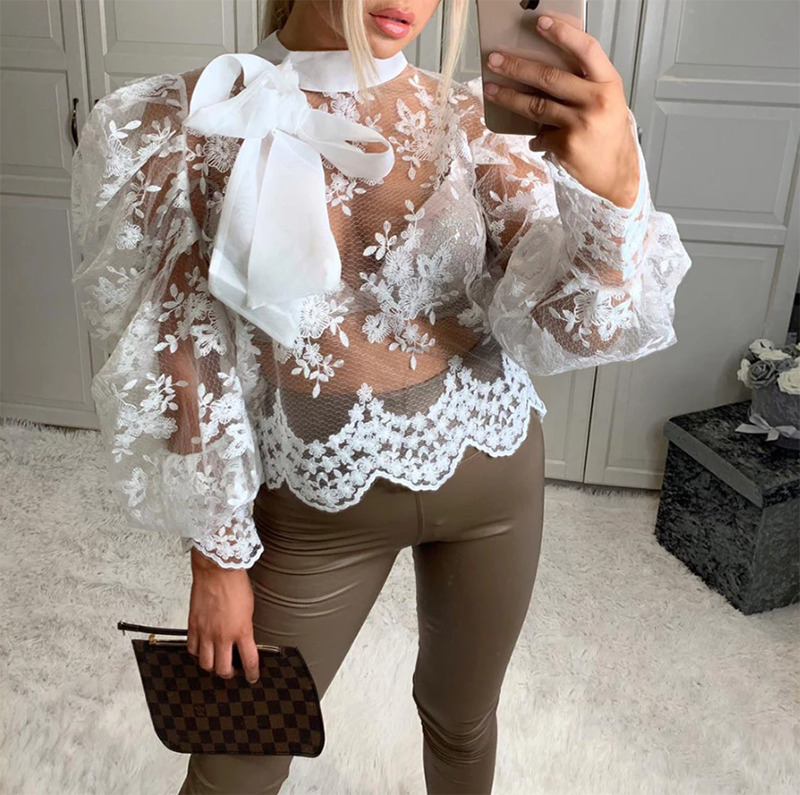 Sexy Women Lady Crochet Mesh Sheer See-Through Long Puff Sleeve Tops Shirt Bow Neck Loose Casual Blouse Top