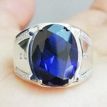Мужское кольцо, сапфировое кольцо,, Настоящее серебро 925 пробы, хорошее ювелирное изделие для мужчин или wo мужчин, 12*16 мм, 13 карат, большой драгоценный камень F8091412