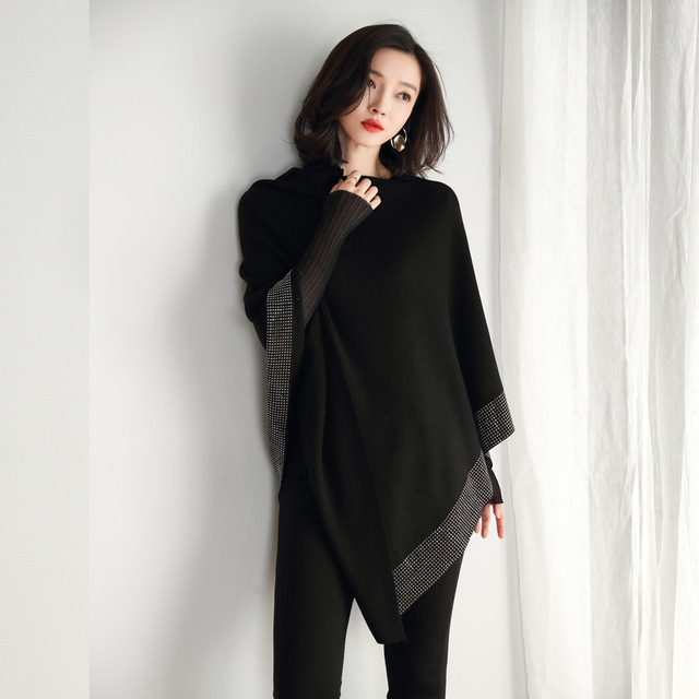 2019 women retro cape coat female cloak autumn 2019 new diamond knitted shawl sweater loose bat sleeve temperament 8