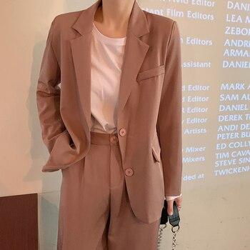 Spring Autumn Women Pant Suit Female Office Lady Blazer Jacket & Long Pants Uniform Suits Set