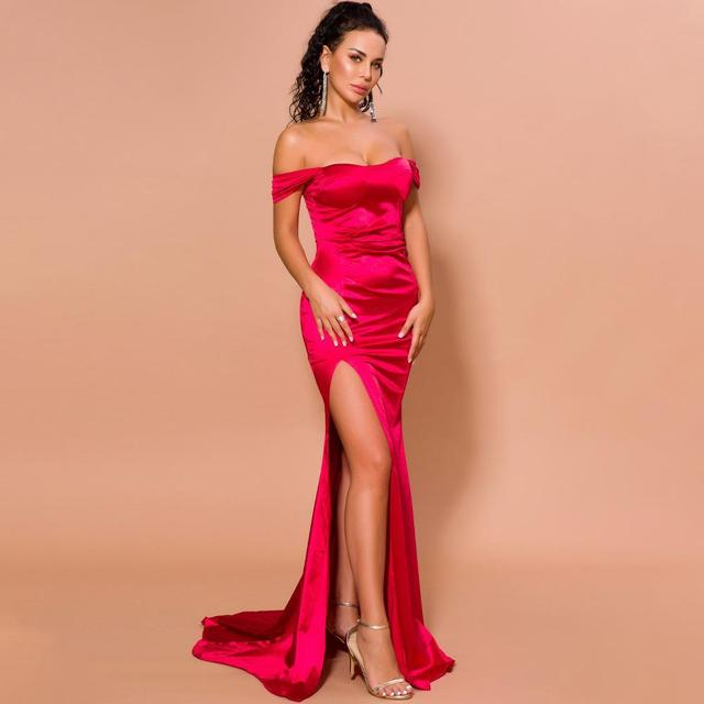 Épaule Sexy une robe Maxi en Satin robe de soirée dété femme robe bleu Royal vert drapé robe longue