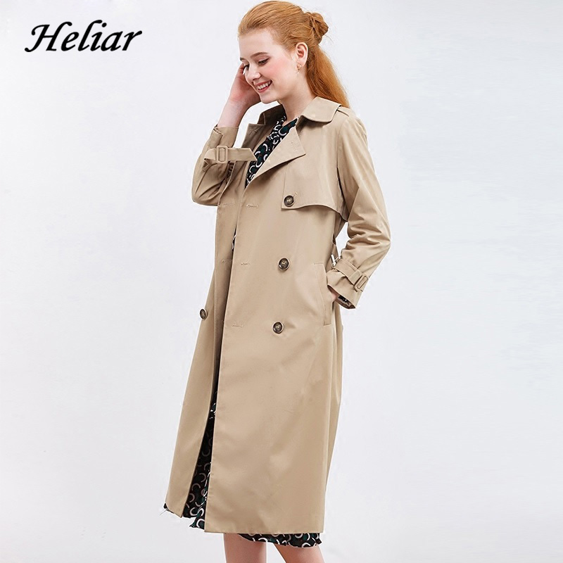 Heliar Lapel Double Breasted Trench Coat 2019 Autumn Women Outerwear Coats With Belt Female Highstreet Pocket Trench Coats Women