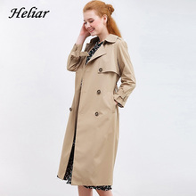 Heliar Lapel Double Breasted Trench Coat 2019 Autumn Women Outerwear Coats With