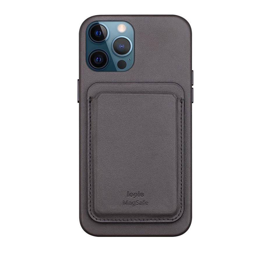 BONOLA Original Leather Magnetic Card holder for iPhone 1212Mini12 Pro12 Pro Max Magsafe Case Back Wallet Card Pocket Holder (2)