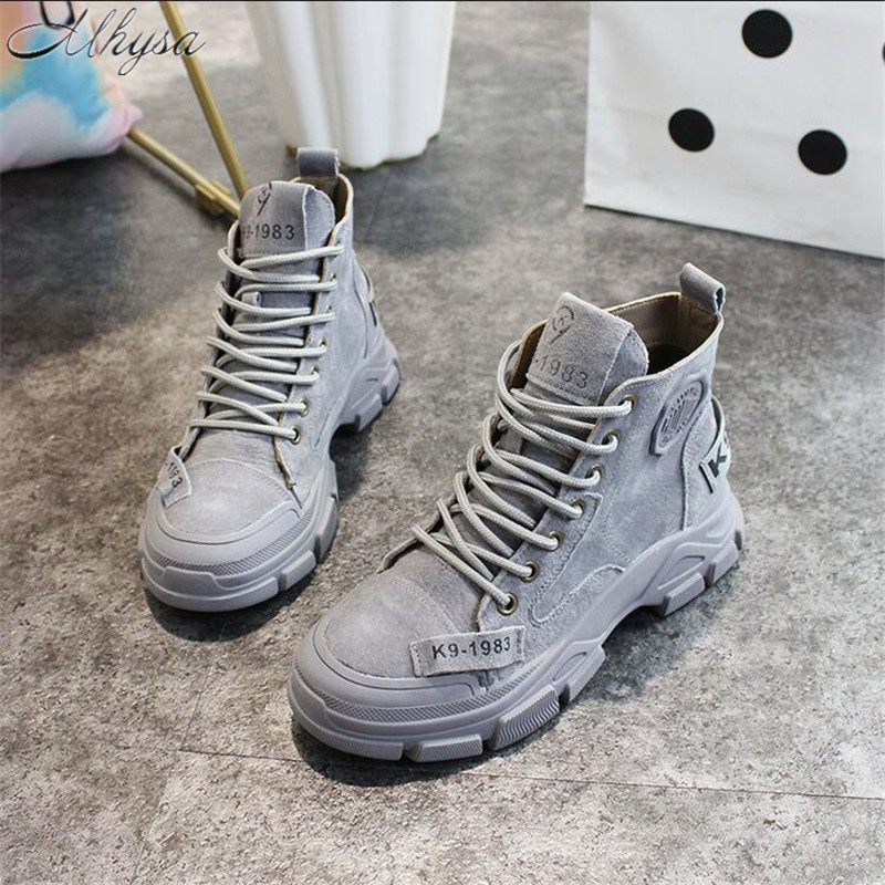 Mhysa 2019 Winter New Style Women Stylish Shoes Autumn Comfortable Martin Leather Boots Thick-soled Ankle Boots Female L1173