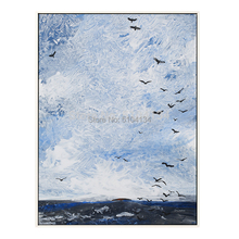 Modern Flewing Sea-Birds Landscape Abstract Wall Art Painting For Living Room Aisle Unique Home Decoration