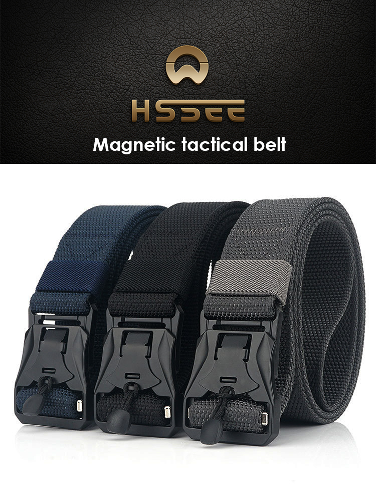 H8ab791f3306541f7b31765b5266e512fe - HSSEE New Mens Tactical Belt Hard Metal Quick Release Magnetic Buckle Mens Military Nylon Belt 3mm Soft Real Nylon Sports Belt